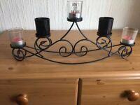 Black Metal Candelabra Tealight Holder with 5 Glass Holders and tea lights.