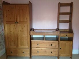 Nursery furniture inc. wardrobe, chest of draws, changing table section, tall unit and shelf