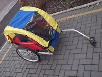 Chi tech red, blue and yellow bike trailer, can be double or single collect Stonehaven only