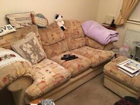 FREE - 3 Seater Sofa and Footstool