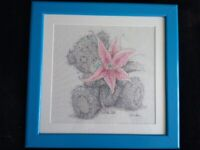 Tatty teddy / Me To You Cross Stitch Professionally Framed Picture. Tatty holding a flower