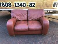 2 seater sofa in a tan leather Hyde £79
