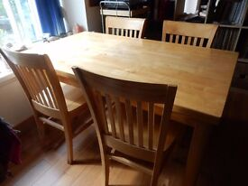 Dining Table & 4 Chairs (Rubber Wood) Very Good Condition