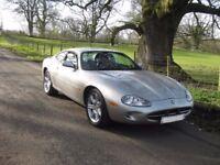 Fabulous Jaguar XK8 Coupe in platinum metallic / black leather interior. FULL MOT