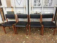 A VINTAGE/ANTIQUE SET OF 4 MID-CENTURY TEAK & BLACK VINYL DINING CHAIRS NICE PRE-LOVED CONDITION