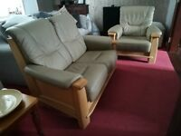 Beautiful Oak & Leather Suite (Miranda by Recor) - 2 Seater Sofa + Armchair in immaculate condition!