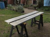 PAIR OF 6FT-6IN ALLOY RAMPS NICE LIGHTWEIGHT BUT STRONG TRAILER RAMPS..