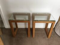 Solid Oak & Glass Side Tables