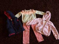 Girls bundle age 5 - body warmer/pink cords/ jumper/lightweight rain jacket