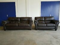DARK BROWN LEATHER SOFA SET 3 SEATER & 2 SEATER SUITE / SETTEE DELIVERY AVAILABLE