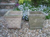 Garden pots/planters x 2. Weathered concrete..looks like stone. £5.00 each.