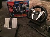 Top Drive GT+ Logic 3 Steering Wheel & Pedals PS-427c - PS2 Playstation 2