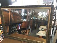 Fine Large Vintage Ornate Gilt Rectangular Over-mantle Mirror with Decorative Detail