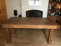 Solid Wood Antique Dining Table and 4 Leather and Wood Chairs.