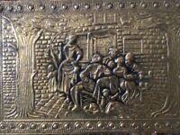 Coal Box Vintage Embossed Brass