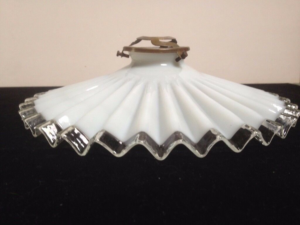 French vintage white glass coolie style pendant light shade in pleated design with brass gallery.