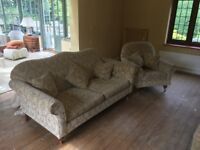 Sofa and Armchair (RRP £2,500 approx. - Wesley Barrell) - matching set with pillows