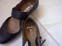 Beautiful black Clarks shoe with soft padded insole