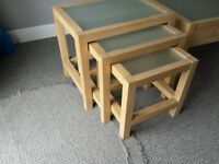 Solid Natural wood Nest of 3 Tables