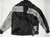 CHILD'S BIKER JACKET NEW TAGS ATTACHED - PROTECTIVE PADDING, WATERPROOF, REFLECTIVE STRIPS