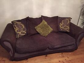 Brown 3 seater sofa with cushions £75 ono