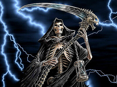 """3.25"""" GRIM REAPER with Lightning Sticker / Decal Computer Angel of Death kill"""