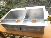 Unused Stainless steel double sink 30 inches wide x 16 ins x 8 3/4 ins deep