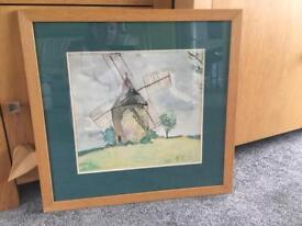 Pastel watercolour painting of windmill