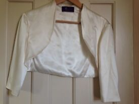 New & unworn, Designer ivory 100% silk wedding bridal bolero / cropped jacket size 10-12