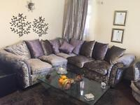 RE-REDUCED Crushed Velvet Silver and Purple sofa WITH CUDDLE CHAIR