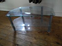 Glass and silver looking TV + Media stand