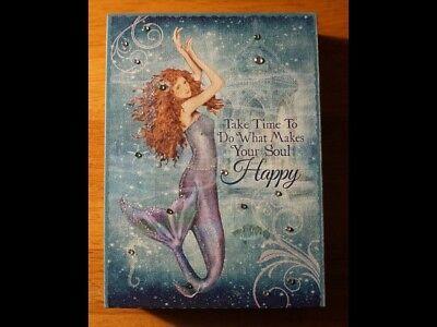 Nautical Mermaid Sign Beaded Jeweled Blue Coastal Beach Home Decor Framed Canvas