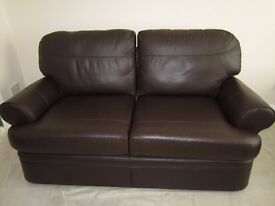 Leather Suite by Marks & Spencer in Dark Brown (Chocolate) - In As New Condition.