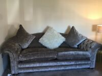 three seater sofa and footstool