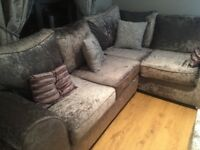 Beautiful corner sofa in silver only 6 months old
