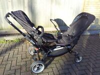 OBABY ZOOM tandem double pushchair / pram black
