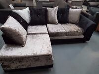 Brand New Crush Velvet Corner Sofa, Black And Silver. Approx 212cm By 164cm. Ready For Delivery