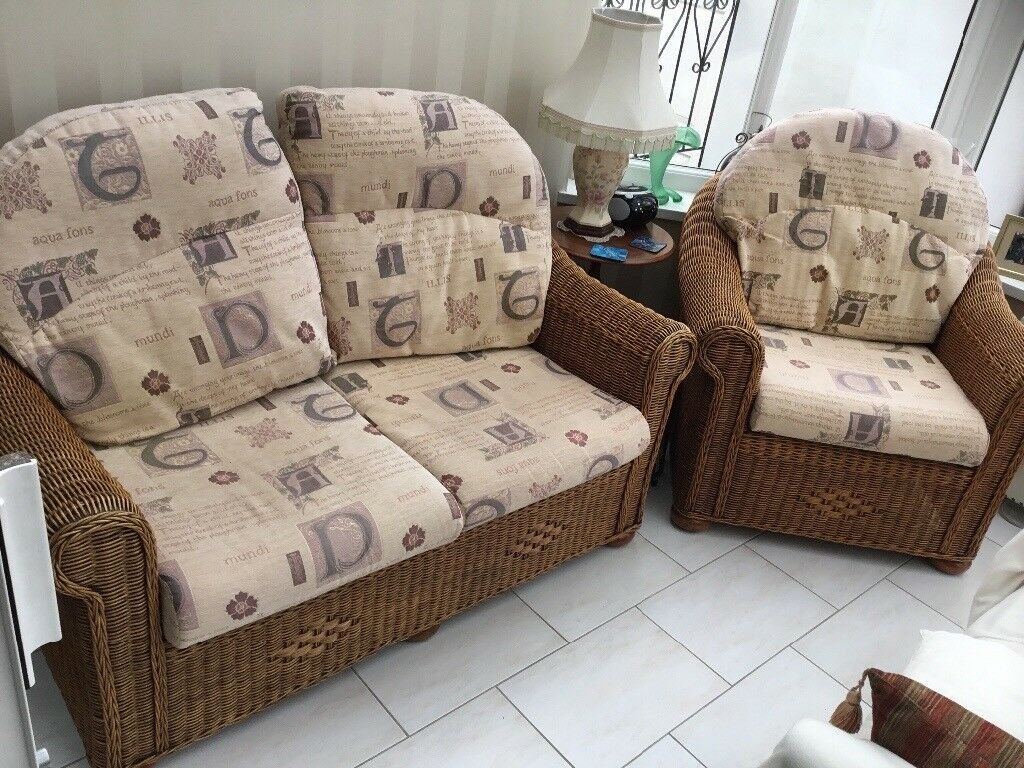 Wicker 2 seater and chair