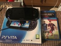 PSVita 3G+wifi, 4gb memory card, FIFA 15 and Minecraft