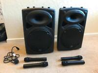 2 x QTX QR15PA Portable PA System with Wireless Mics