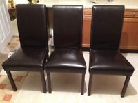 5 Brown Faux Leather Barker & Stonehouse Dining Chairs