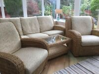 DARO conservatory furniture, 3seater settee, 2chairs and coffee table. Good condition Price £550