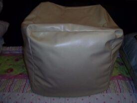 cream leather effect bean bag