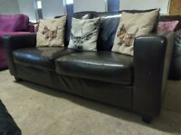 Faux Leather 2 seater sofa settee peeled bit on seat Deliv Poss