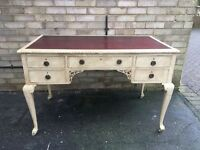 DESK RED LEATHER TOP DRESSING TABLE SOLID WOOD PAINTED FRENCH DISTRESSED CREAM