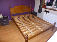 Antique Pine Wood double bed frame