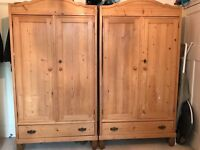 Beautiful matching pair of Victorian pine wardrobe