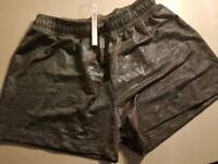 ASOS. (NEW) Chrome silver thread shorts size 8