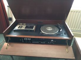 Retro radiogram with cassette deck and vinyl turntable