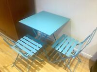 Blue steel table and 2 chairs